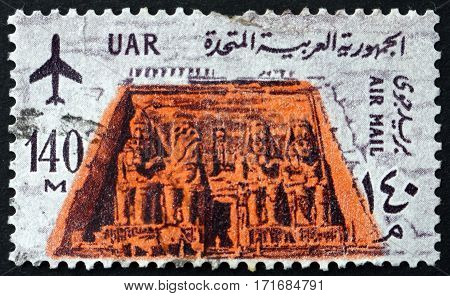 EGYPT - CIRCA 1963: a stamp printed in Egypt shows The great temple of Ramses II at Abu Simbel circa 1963