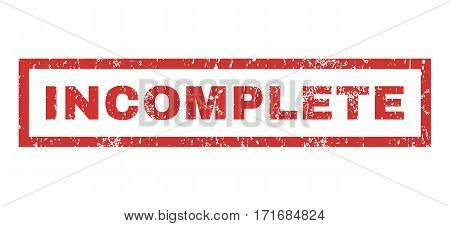 Incomplete text rubber seal stamp watermark. Tag inside rectangular banner with grunge design and dust texture. Horizontal vector red ink sign on a white background.