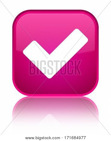 Validate Icon Shiny Pink Square Button