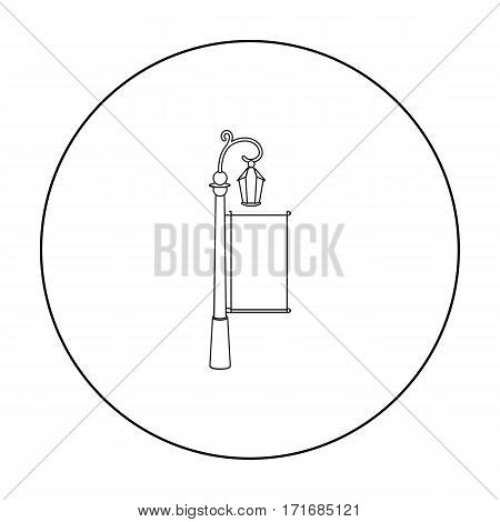 City light billboard icon in outline style isolated on white background. Advertising symbol vector illustration.