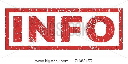 Info text rubber seal stamp watermark. Tag inside rectangular shape with grunge design and dust texture. Horizontal vector red ink emblem on a white background.