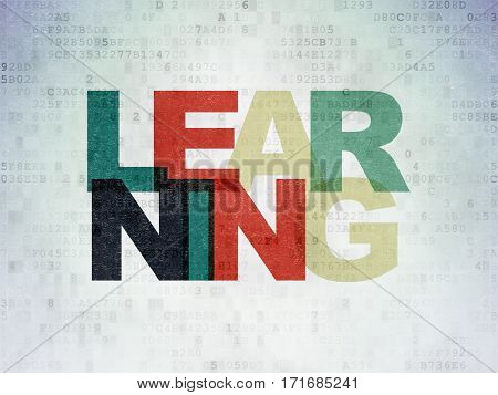 Studying concept: Painted multicolor text Learning on Digital Data Paper background