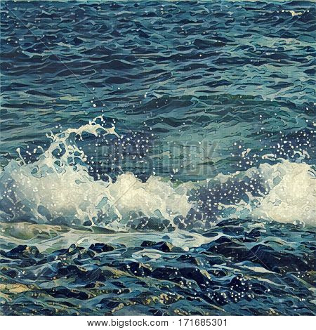 Digital illustration - wave with bubbles. Ocean waves on rocky beach. Tropical summer vacation style image. Green sea water and grey beach rock. Nautical painting in orient style. Marine landscape