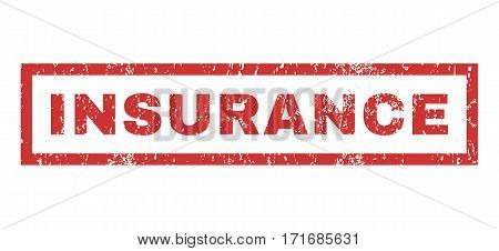 Insurance text rubber seal stamp watermark. Caption inside rectangular shape with grunge design and scratched texture. Horizontal vector red ink emblem on a white background.