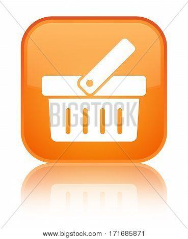 Shopping Cart Icon Shiny Orange Square Button