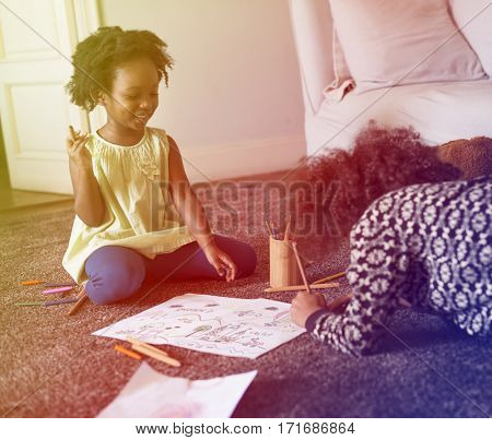 Little Girls On The Floor Coloring