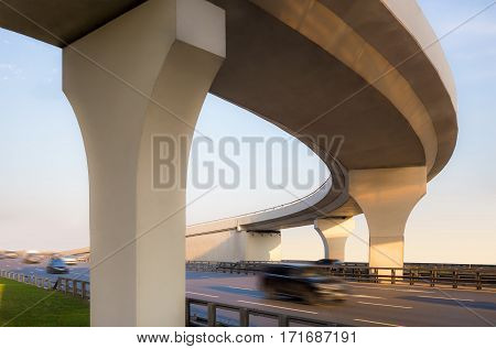 View from below to a concrete overpass