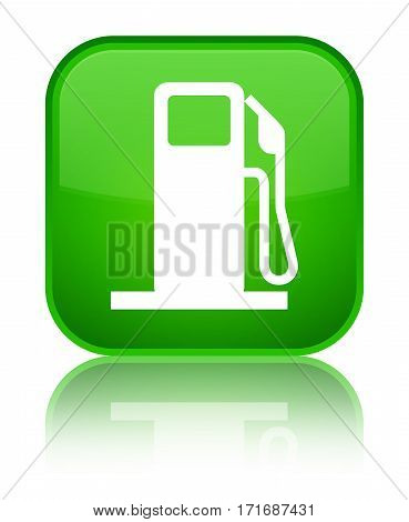 Fuel Dispenser Icon Shiny Green Square Button