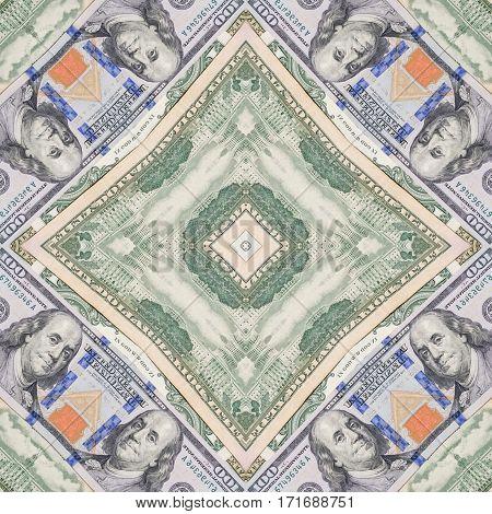 several dollar bills. kaleidoscope effect close up