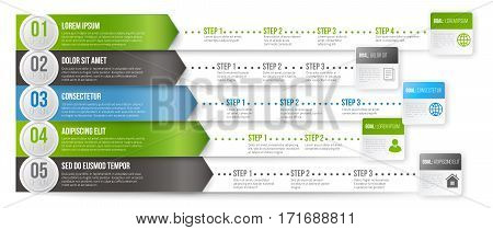 Timeline Infographic Vector Template with options of several paths for different targets