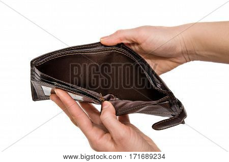 Empty brown purse in woman hands. Isolated