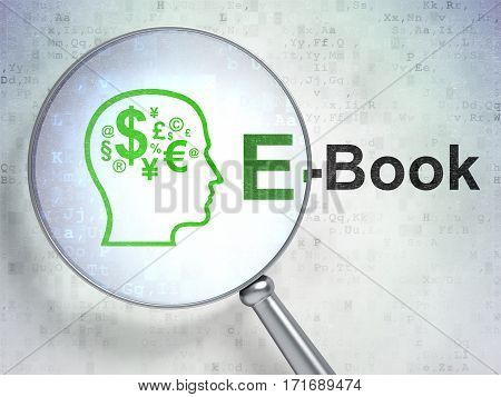 Studying concept: magnifying optical glass with Head With Finance Symbol icon and E-Book word on digital background, 3D rendering