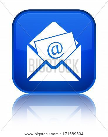 Newsletter Email Icon Shiny Blue Square Button