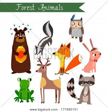 Forest Animals Vector Illustration.vector Set. Isolated On White Background. Forest Animals Cartoon