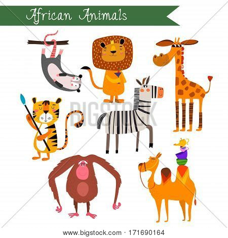 African Animals Vector Illustration.vector Set. Isolated On White Background. African Animals Cartoo