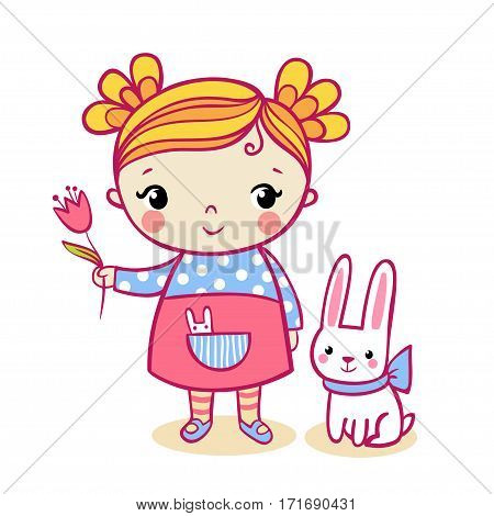 Vector illustration of a child and a hare on a white background.
