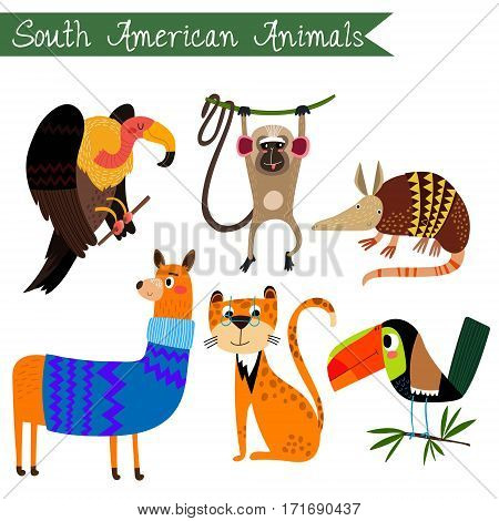 Sourth America Animals Vector Illustration.vector Set. Isolated On White Background. Sourth America