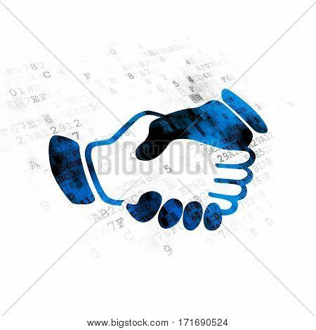 Politics concept: Pixelated blue Handshake icon on Digital background