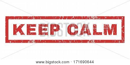 Keep Calm text rubber seal stamp watermark. Caption inside rectangular banner with grunge design and dust texture. Horizontal vector red ink emblem on a white background.