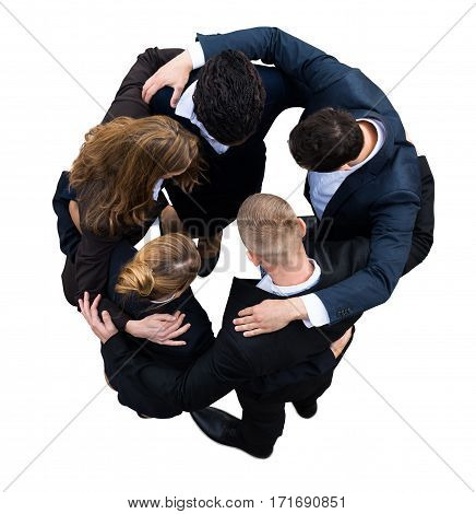 High Angle View Of A Businesspeople Making Huddle On White Background