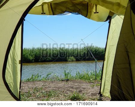 view from tourist tent in the summer fishing