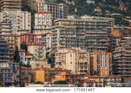 Monaco Monaco-Ville - November 4 2016: Densely populated residential district of Monaco. Monaco is the second smallest and the most densely populated country in the world.
