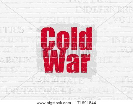 Political concept: Painted red text Cold War on White Brick wall background with  Tag Cloud