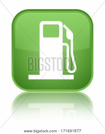 Fuel Dispenser Icon Shiny Soft Green Square Button