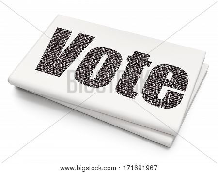 Politics concept: Pixelated black text Vote on Blank Newspaper background, 3D rendering