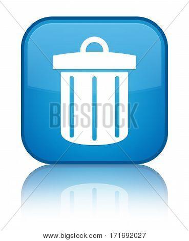 Recycle Bin Icon Shiny Cyan Blue Square Button