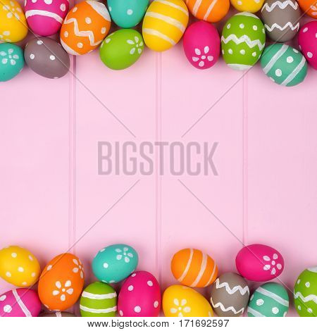 Colorful Easter Egg Double Border Against A Pink Wood Background