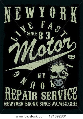 Motorcycle tee graphic design  fashion style new life