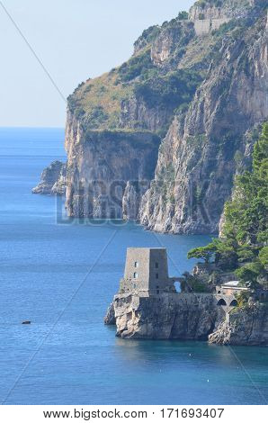 Italy's Amalfi Coast with rock sea cliffs.