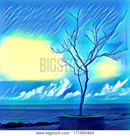 Digital illustration - Lonely tree standing on the sea shore. Silhouette of lifeless tree on the beach. Cartoon drawing of ocean view. Poster banner template with place for text. Conceptual image