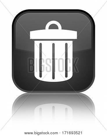 Recycle Bin Icon Shiny Black Square Button