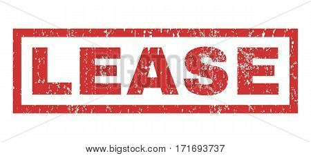 Lease text rubber seal stamp watermark. Tag inside rectangular shape with grunge design and scratched texture. Horizontal vector red ink sign on a white background.