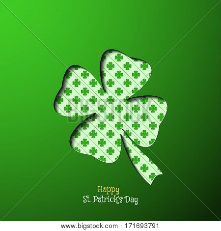 Vector Happy St. Patrick's Day poster on the green gradient background leaf of clover cutout silhouette and pattern shadow text.