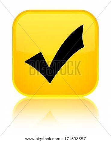 Validation Icon Shiny Yellow Square Button