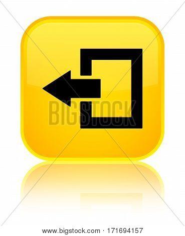 Logout Icon Shiny Yellow Square Button