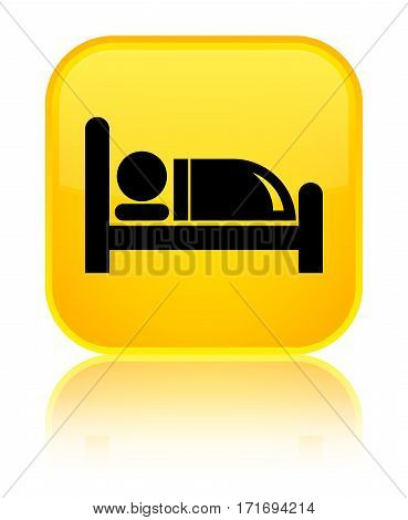 Hotel Bed Icon Shiny Yellow Square Button