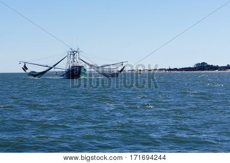 Shrimp Boat with Rigging and Nets Out
