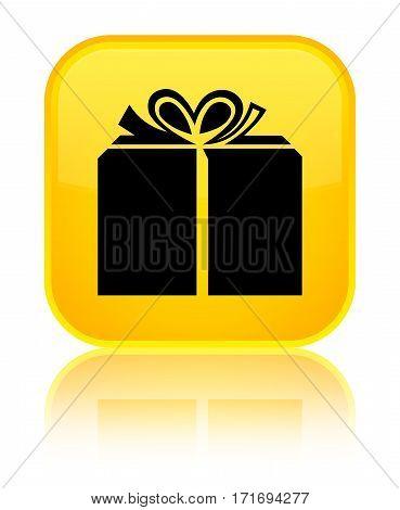 Gift Box Icon Shiny Yellow Square Button