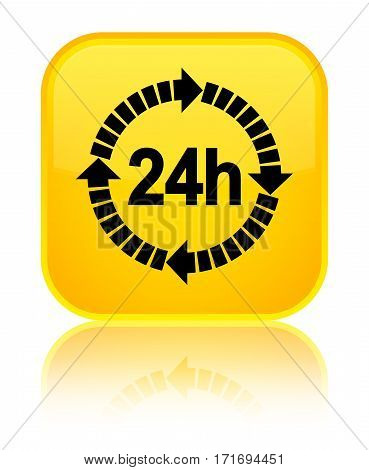 24 Hours Delivery Icon Shiny Yellow Square Button