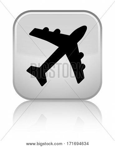 Plane Icon Shiny White Square Button