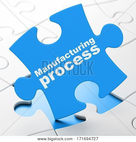 Industry concept: Manufacturing Process on Blue puzzle pieces background, 3D rendering