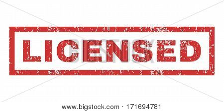 Licensed text rubber seal stamp watermark. Tag inside rectangular shape with grunge design and dust texture. Horizontal vector red ink sticker on a white background.