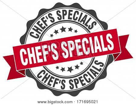 chef's specials. stamp. sign. seal. round. retro. ribbon