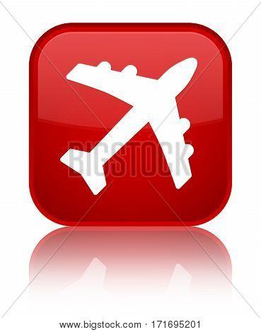 Plane Icon Shiny Red Square Button