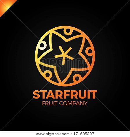 Carambola, Star Fruit Slice On A Black Background