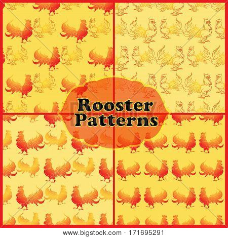 Seamless patterns set with red rooster on a yellow background. Design covers, package, wrapping paper.